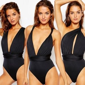 NWOT ASOS Black Multiway One Piece Swimsuit